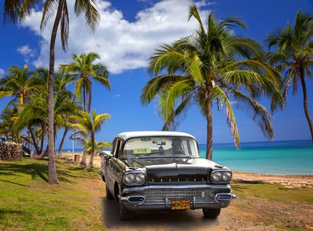 VARADERO, CUBA - MAY, 22, 2013: Black american classic car on the beach