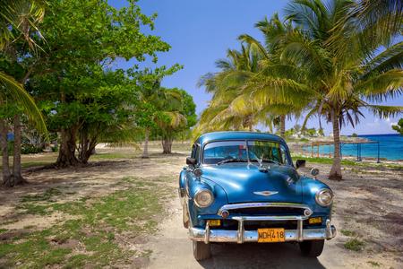 VARADERO, CUBA - MAY, 22, 2013: Black american classic car on the beach Editorial