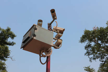 Cameras of video surveillance look in all directions. Stock Photo