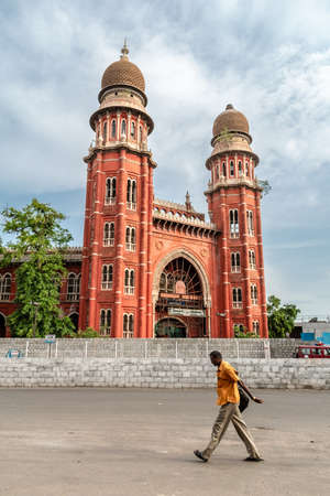 Chennai, Tamil Nadu, India - August 2018: The exterior facade of the exquisite red brick colonial architecture of the Law College building. Editorial