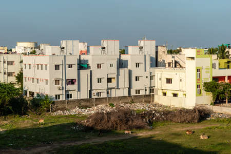 Chennai, Tamil Nadu, India - January 2020: A low rise neighbourhood in the suburb of Pallavaram.