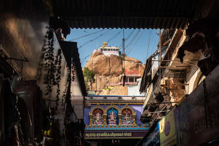Trichy, Tamil Nadu, India - February 2020: The ancient hill top Rock Fort temple also known as the Ucchi Pillaiyar temple in the city of Tiruchirappalli.
