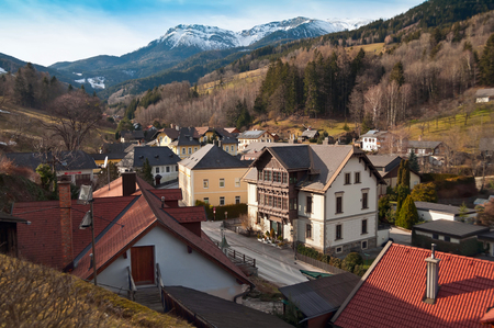 snowcovered: View from the mountains to the village Prein on the Rax (german: Prein an der Rax). Austria