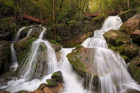 flashy: Footbridge over the Myra Falls, located in a ravine in the municipality of Muggendorf. Lower Austria.