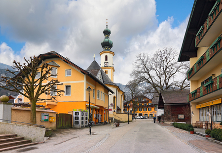 giles: ST. GILGEN - AUSTRIA, FEBRUARY, 25. Village St. Gilgen by the Wolfgangsee with the church of Saint Giles on February 25, 2016 in the austrian state of Salzburg, in the Salzkammergut region. Austria. Editorial