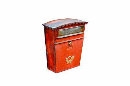 posthorn: Old red mailbox on a white background. Austria.