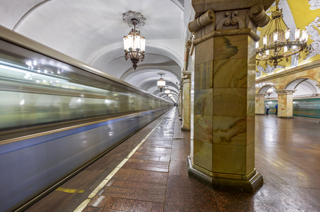 MOSCOW  RUSSIA - MARCH 11, 2017. Metro station Komsomolskaya, opened in 1952 in the center of Moscow, Russia Editorial