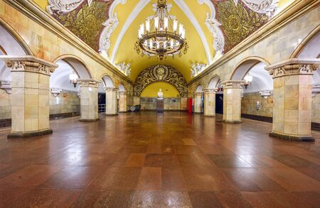 MOSCOW  RUSSIA - MARCH 11, 2017. Metro station Komsomolskaya in the center of Moscow, Russia