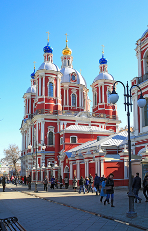 renovated: MOSCOW  RUSSIA - MARCH, 15. Old church of St. Clement the Hieromartyr (the Patriarch of Rome) in Zamoskvorechye in baroque style after renovation on March 15, 2015. Moscow, Russia.