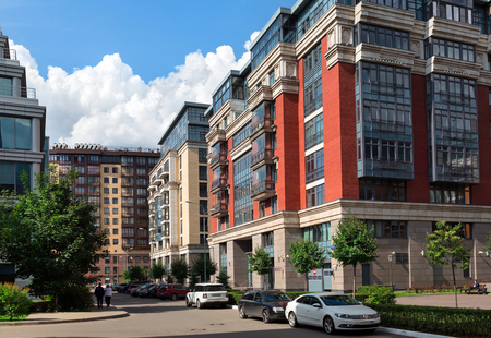 housebuilding: MOSCOW, RUSSIA - JULY, 16. Buildings of the new luxury residential complex Four suns in the center of Moscow, Russia on July 16, 2015, Russia. Editorial