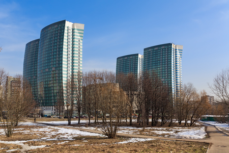 MOSCOW, RUSSIA - MARCH 12, 2017. The construction of a modern residential complex Fleet (Russian: Flotiliya) near the Park of Friendship . The Khovrino District, Moscow, Russia.