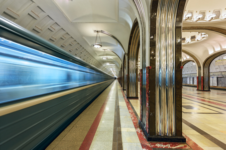 sub station: MOSCOW RUSSIA - MARCH 11, 2017. Metro station Mayakovskaya, opened 1938. Moscow, Russia Editorial