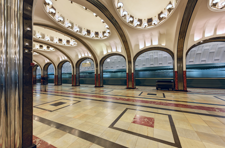 neo classical: MOSCOW  RUSSIA - MARCH 11, 2017. Metro station Mayakovskaya. Moscow, Russia