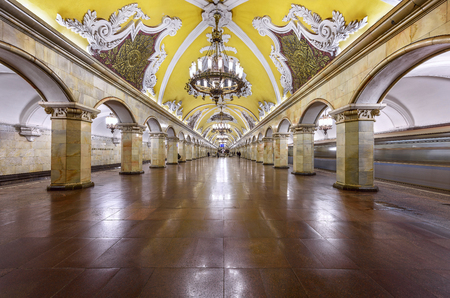 departing: MOSCOW, RUSSIA - MARCH 11, 2017. Metro station Komsomolskaya, opened 1952 in the center of Moscow, Russia