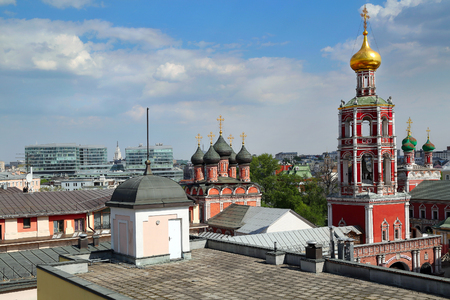 petrovka: Panoramic view of the high Monastery of St Peter and a new shopping center. Moscow, Russia.