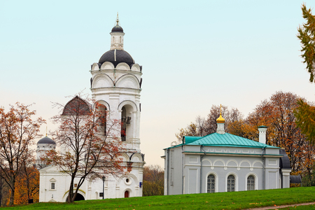 The Church-belfry of St. George and the church refectory in the park Kolomenskoye. Moscow, Russia.