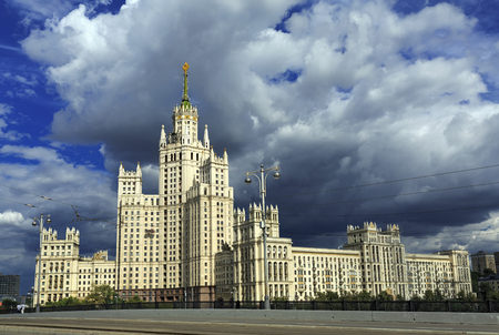 kotelnicheskaya embankment: High-rise Stalin residential building on Kotelnicheskaya embankment, built 1938-1952. Moscow, Russia.