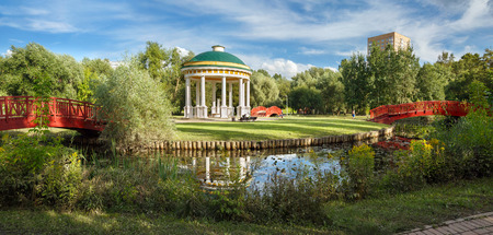 rotunda: Pavillion Air Tempel in a city park on the banks of the Yauza River. Moscow, Russia.