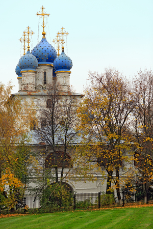 sights of moscow: Church of the Kazan icon of the Mother of God of the seventeenth century in the park Kolomenskoye. Moscow, Russia. Stock Photo