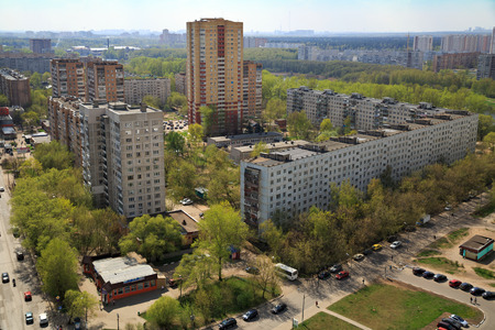 Aerial view of the modern and old residential district in city Balashikha in Moscow region, Russia.