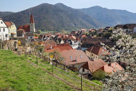 Village of Weissenkirchen in der Wachau on the river Danube. Wachau-valley, district of Krems-Land, Lower Austria.