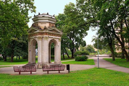 Old Gazebo in the Park Kronvalda. Stock Photo