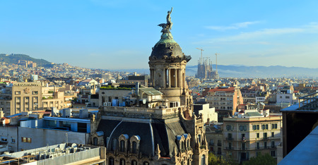 Panoramic view of the center of Barcelona. Spain.