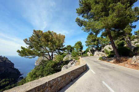 Mountain road along the sea near the village Sa Calobra. The Island Majorca, Spain Stock Photo