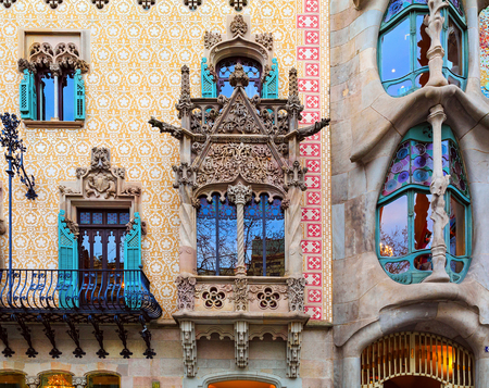 BARCELONA, SPAIN - MARCH, 25. Details of Houses Casa Batllo and Casa Amatller on March 25, 2015 in Barcelona, Spain. Editorial