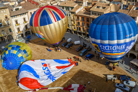 VIC SPAIN - MARCH 27, 2015. The hot air balloons are ready to fly on the main square of the historic Spanish city of Vic. Spain, province Barcelona