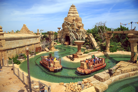 PORT AVENTURA, SPAIN - MAY, 11. Interactive water attraction Angkor located in the China area  in the theme park Port Aventura on May 11, 2015 in city Salou, Catalonia, Spain. Editorial