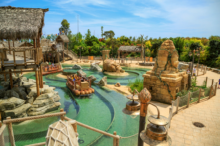 PORT AVENTURA, SPAIN - MAY 11, 2015. Interactive water attraction Angkor, based on the Cambodian temple of Angkor Wat. Theme Park Port Aventura, Salou, Spain Editorial