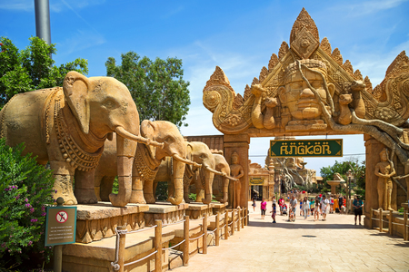 PORT AVENTURA, SPAIN - MAY, 11. Entrance gate to the attraction Angkor located in the China area  in the theme park Port Aventura on May 11, 2015 in city Salou, Catalonia, Spain. Editorial