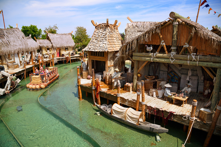 PORT AVENTURA, SPAIN - MAY 11, 2015. Interactive water attraction Angkor - an imitation of a Cambodian fishing village. Theme Park Port Aventura, Salou, Spain