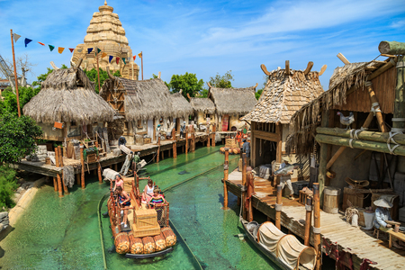PORT AVENTURA, SPAIN - MAY 11, 2015. Water attraction Angkor located in the China area of the theme park Port Aventura in Salou, Spain.  Its one of the longest boat ride attractions in Europe.