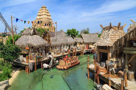 PORT AVENTURA, SPAIN - MAY, 11. Interactive water attraction Angkor located in the China area  in the theme park Port Aventura on May 11, 2015 in city Salou, Catalonia, Spain. 報道画像