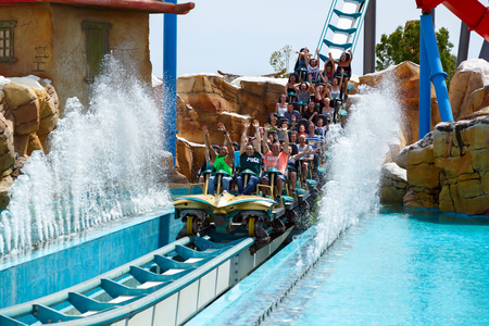 PORT AVENTURA, SPAIN - MAY, 11. Attraction Shambhala in the theme park Port Aventura on May 11, 2015 in city Salou, Catalonia, Spain.