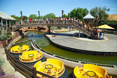 SALOU, SPAIN - MAY, 12. Attraction Grand Canyon Rapids in the theme park Port Aventura on May 12, 2015 in city Salou, Spain.