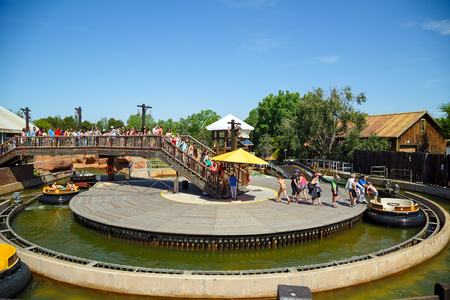 west river: SALOU, SPAIN - MAY, 12. Attraction Grand Canyon Rapids in the theme park Port Aventura on May 12, 2015 in city Salou, Spain.