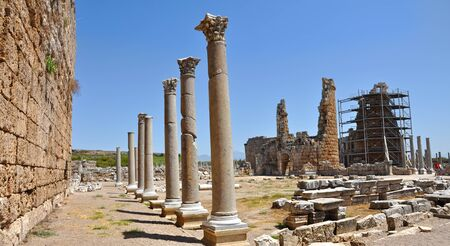 scaffolds: Ruins of the ancient anatolian city Perge (Perga) in Turkey.
