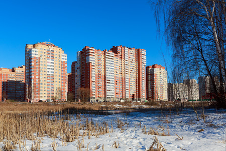 A new residential district on the banks of the river Pekhorka. City Balashikha, Moscow region, Russia. Redactioneel