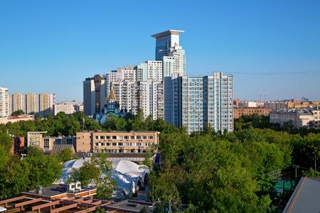The Sokolniki district, as seen from the Ferris wheel. Moscow, Russia