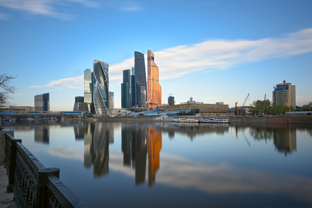 MOSCOW, RUSSIA - MAY 1, 2017. Moscow International Business Center as seen from the embankment of Taras Shevchenko. Moscow, Russia