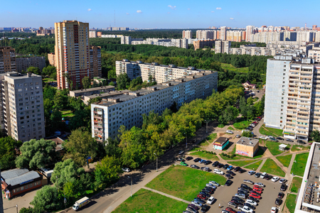 Aerial view of the modern and old residential district in city Balashikha. Moscow region, Russia. Editorial
