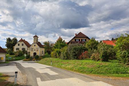 Austrian village Perndorf in the fall. Municipality Puch bei Weiz, federal state Styria, Austria.