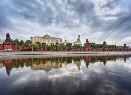 palacio ruso: View of the Kremlin and the Kremlin embankment. Moscow, Russia.