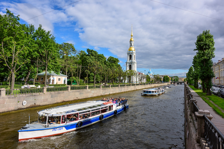 SAINT PETERSBURG, RUSSIA - JULY 2, 2017. View of the embankment of the Krjukov canal and the belfry of St. Nicholas Cathedral. Saint Petersburg, Russia.