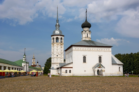 the eighteenth: SUZDAL, RUSSIA - AUGUST 19, 2017. The Church of Christs Resurrection (Voskresenskaya church), built in 1720 on the main square of Suzdal, Russia.