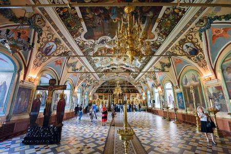 SERGIYEV POSAD, RUSSIA - AUGUST 3, 2017. Interior of the Church of St. Sergius (Refectory church). Trinity Lavra of St. Sergius, Sergiyev Posad, Russia Editöryel