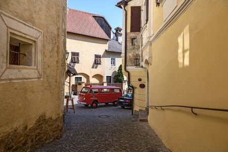 WEISSENKIRCHEN-IN-DER-WACHAU, AUSTRIA - APRIL 1, 2017. Fire vehicle Volkswagen T2 on the street in the town of Weissenkirchen-in-der-Wachau. District of Krems-Land, Lower Austria.